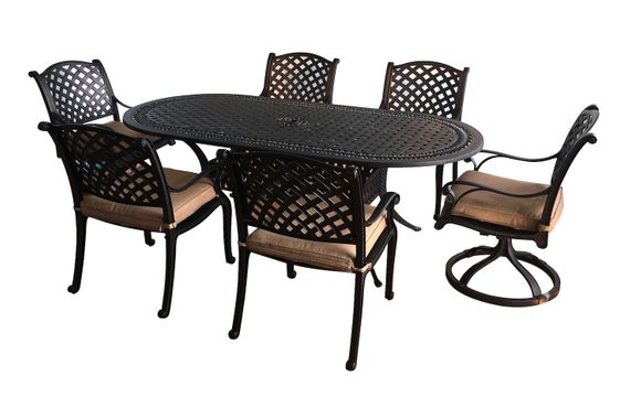 Chelsea Cast Aluminum Oval Dining Set of 7