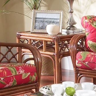 Cherry Tree Rattan End Table
