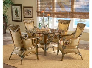 "Clearwater Rattan Dining Set of 5 - 48"" Round Table"