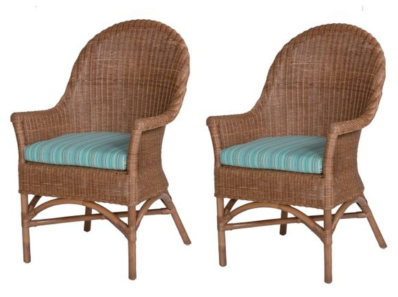 Coastal Wicker Arm Chairs - Set of 2