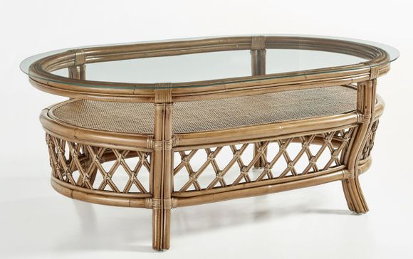 Destin Rattan Coffee Table with Glass Top