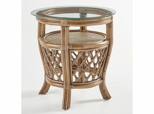 Destin Rattan End Table with Glass Top