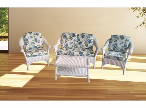 Diamond Wicker Deep Seating Collection - Available in White and Chicory Brown Finishes