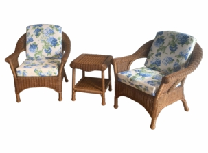 Diamond Wicker Set of 3 - 2 Chairs and 1 End Table