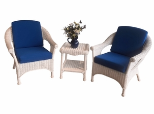 Diamond Wicker Set of 3 - 2 Chairs and 1 End Table-April 2021 Delivery
