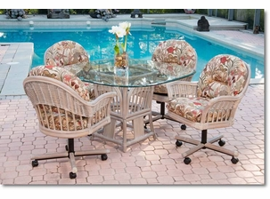 Driftwood Rattan Tilt swivel Dining Set