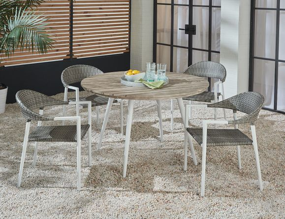 Essentials Amaral Dining Set of 5 - Blanc Finish with Aluminum Top Table