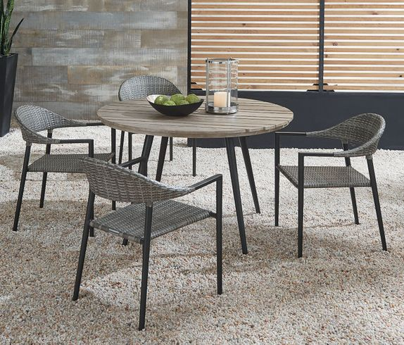 Essentials Amaral Dining Set of 5 - Noir Finish with Aluminum Table Top