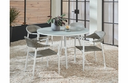 Essentials Amaral Dining Set of 5 with Blanc Finish and Glass Top