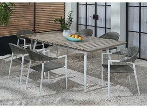 Essentials Amaral Dining Set of 7 - Blanc Finish with Aluminum Table Top