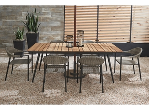 Essentials Amaral Dining Set of 7 - Noir Finish with Teak Table Top