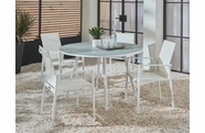 Essentials Dining Set of 5 - Blanc Finish with Glass Top Table