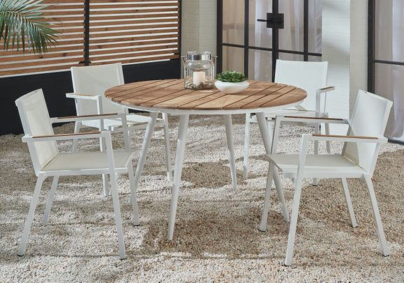 Essentials Dining Set of 5 - Blanc Finish with Teak Arms and Teak Table Top