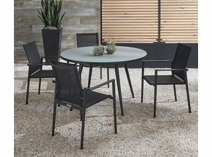 Essentials Dining Set of 5 - Noir Finish with Glass Top Table