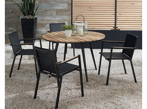 Essentials Dining Set of 5 - Noir Finish with Teak Arms and Teak Table Top
