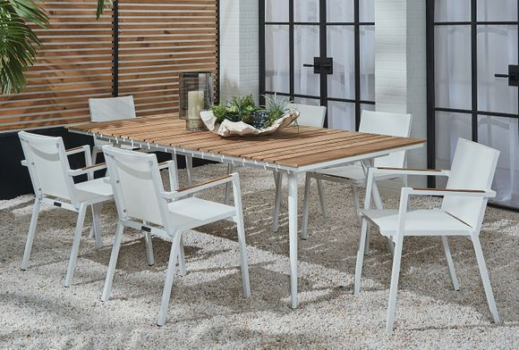 Essentials Dining Set of 7 - Blanc Finish with Teak Arms and Teak Table Top