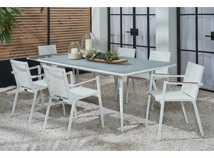 Essentials Dining Set of 7 - Blanc Finish with Teak Arms and Glass Table Top