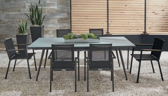 Essentials Dining Set of 7 - Noir Finish with Glass Top Dining Table