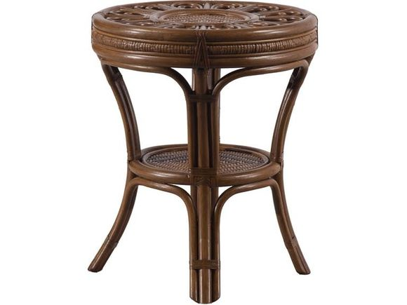 Grand Cayman Rattan End table with glass top