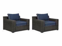 Grasson Outdoor Wicker Chair-Set Of 2-Closeout Only 1 set left