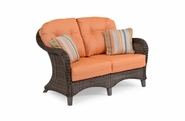 Island Way Outdoor Wicker Loveseat- Vintage Walnut Finish