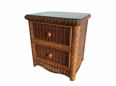 Kona 2 drawer wicker nightstand