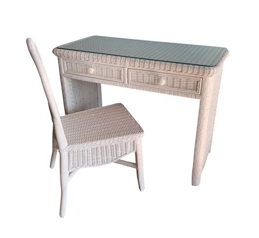 Kona Wicker Desk and Chair With Glass Top