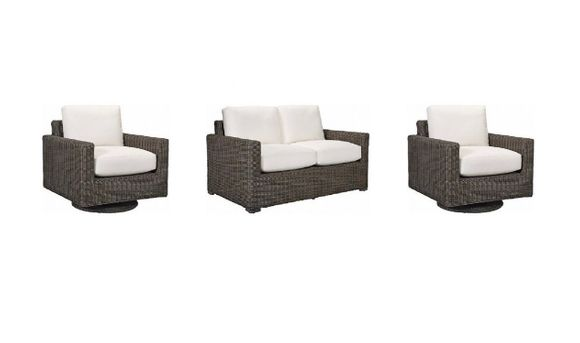 Lane Venture Fillmore Outdoor Wicker Set of 3 -1  Loveseat and 2 Swivel Glider Chairs - USE COUPON CODE LANE FOR 50% OFF