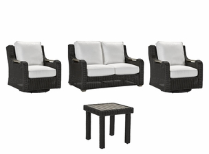 Lane Venture Hemingway Cay   Outdoor Wicker- 2 Swivel Glider Chairs, Loveseat, End Table Set - USE COUPON CODE LANE FOR 50% OFF