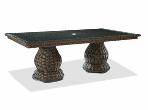 "Lane Venture South Hampton 84"" Long Glass Top Dining Table"