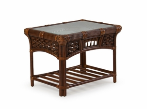 Malibu Rattan End Table with Glass Top