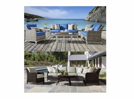 Marco Island Outdoor Wicker Collection: Soft Granite and Dark Caramel Finishes