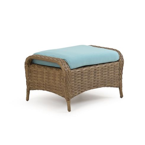 Alexandria Outdoor Wicker Ottoman - Oyster Finish