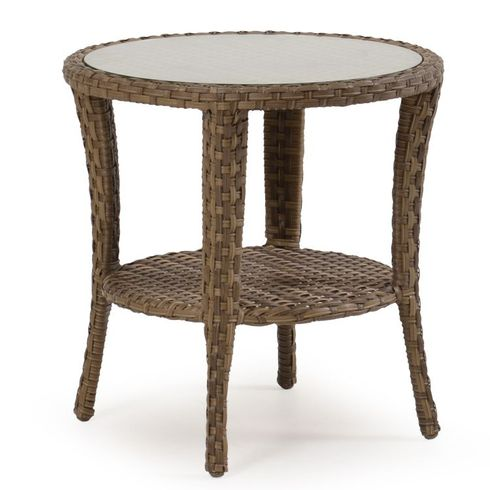 Alexandria Outdoor Wicker Round End Table - Oyster Finish