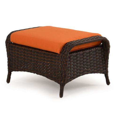 Alexandria Outdoor Wicker Ottoman - Tortoise Finish