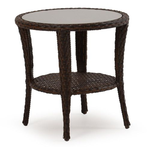 Alexandria Outdoor Wicker Round End Table - Tortoise Finish