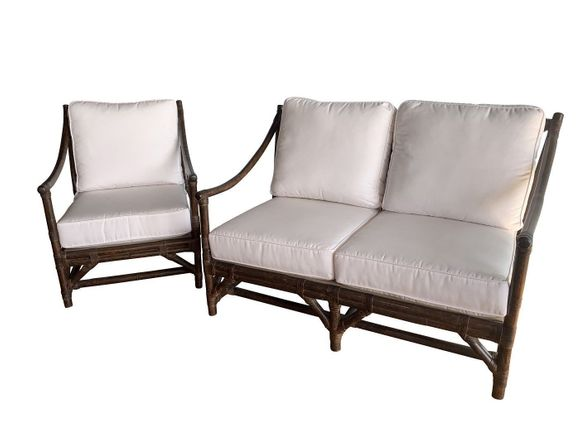 Quickship Rattan Seating Set of 2- Loveseat and Chair