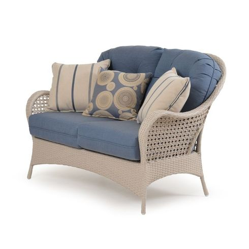 Buckingham Outdoor Wicker Loveseat - White Sand Finish