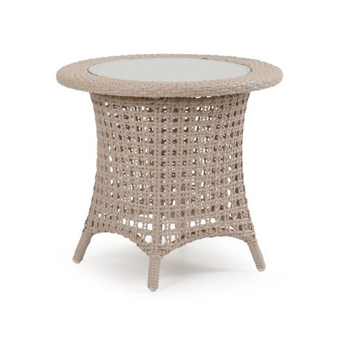 Buckingham Outdoor Wicker End Table With Glass Top - White Sand Finish