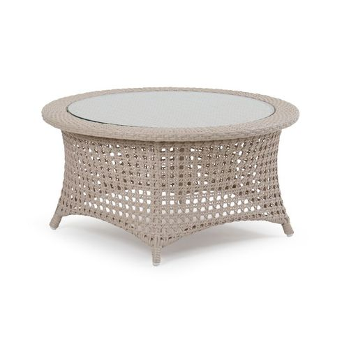Buckingham Outdoor Wicker Cocktail Table with Glass Top - White Sand Finish