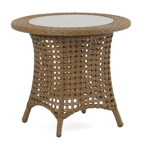 Buckingham Outdoor Wicker End Table with Glass Top - Driftwood Finish