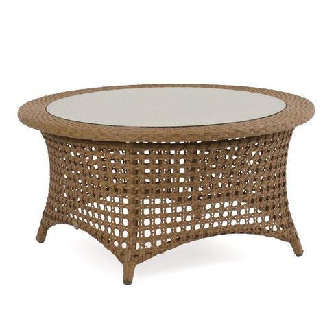 Buckingham Outdoor Wicker Cocktail Table with Glass Top - Driftwood Finish