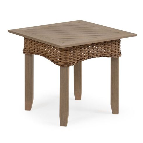 Island Way Outdoor Wicker Square End Table - Nutmeg Finish