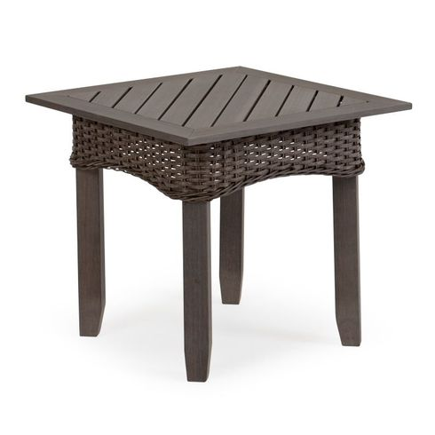 Island Way Outdoor Wicker Square End Table- Vintage Walnut Finish