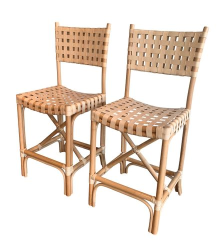 Cayman Rattan Counter Stool with Back - Set of 2