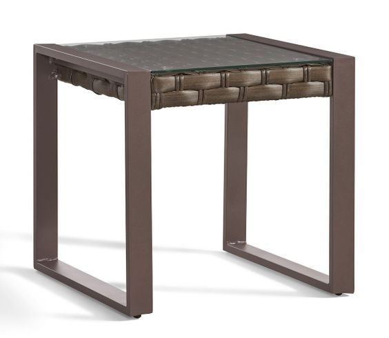 Sorrento Outdoor Wicker End Table with Glass Top