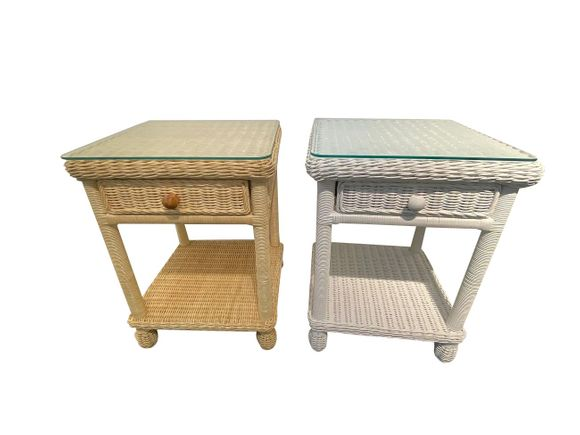 One Drawer Wicker Nightstand With Glass Top