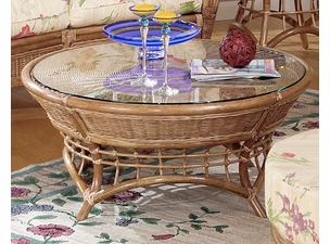 Orange Beach Rattan Coffee Table with Glass Top