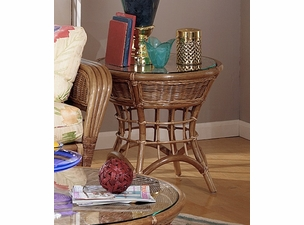 Orange Beach Rattan End Table with Glass Top