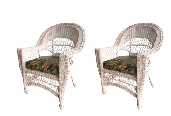 Outdoor Wicker Chair Set of 2 - Cape Cod White available in July-natural in stock